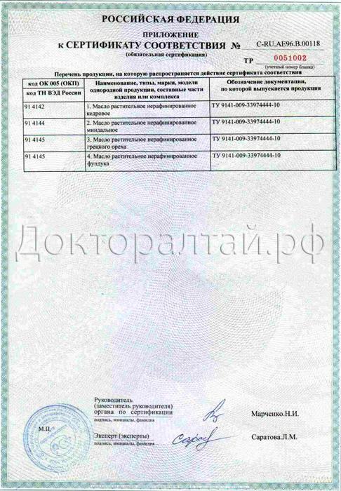 Приложение к сертификату масло кедрового ореха